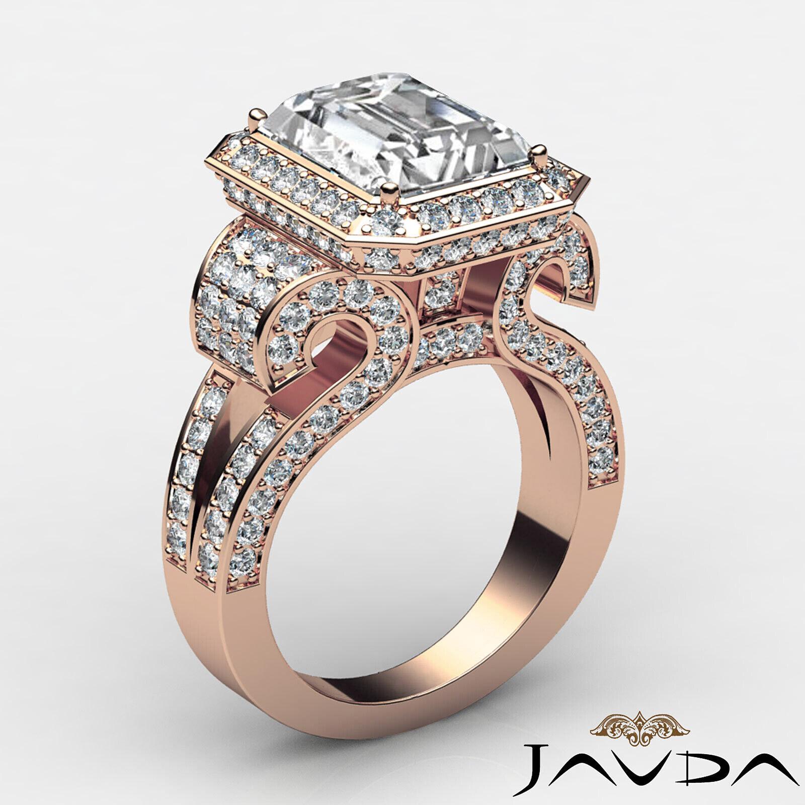 4.4ctw Antique Vintage Halo Emerald Diamond Engagement Ring GIA I-VS1 White Gold 11