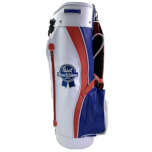 New! Pabst Blue Ribbon Beer PBR Golf Bag with Stand Red Whit