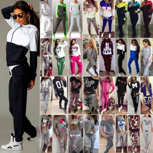 Damen Training Anzug Jogging Sportanzug Sports Set Kapuze Sweatshirt Jacke Hose