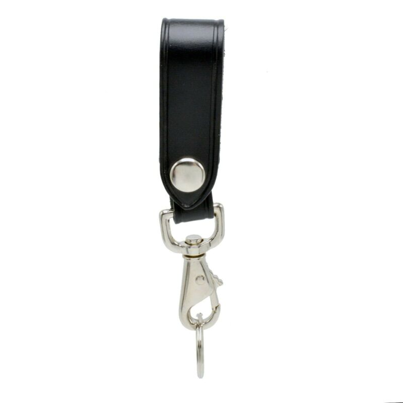Leather Key Strap Police Belt Keeper Swivel Key Ring Chrome Corrections Security