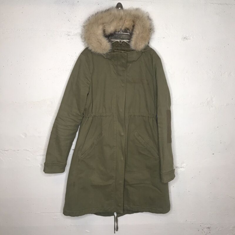 GAP Maternity Army Olive Green Fur Trimmed Parka Jacket Coat Primaloft SMALL