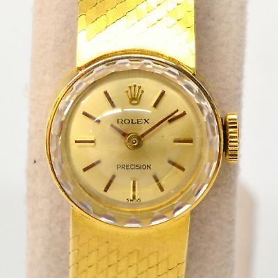 Authentic Rolex Chameleon Wrist Watch Manual Winding Movement Ladies Yellow Gold