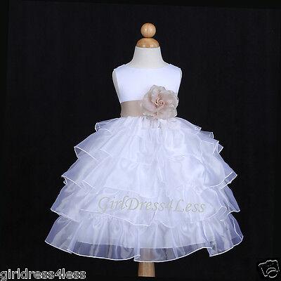 WHITE/CHAMPAGNE SATIN ORGANZA WEDDING FLOWER GIRL DRESS 12M 18M 2 4 5/6/6X 8 10