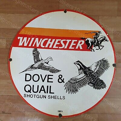 WINCHESTER DOVE & QUAIL PORCELAIN ENAMEL SIGN 24 INCHES ROUND