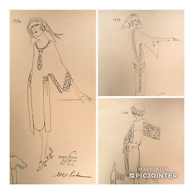 1920's Ethel Rabin Vtg Gatsby Fashion Design ORIGINAL Drawing~Roaring 20s (aO)