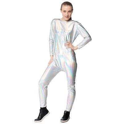 Adult Womens Unicorn Iridescent Silver Rainbow Halloween Costume Jumpsuit DIY