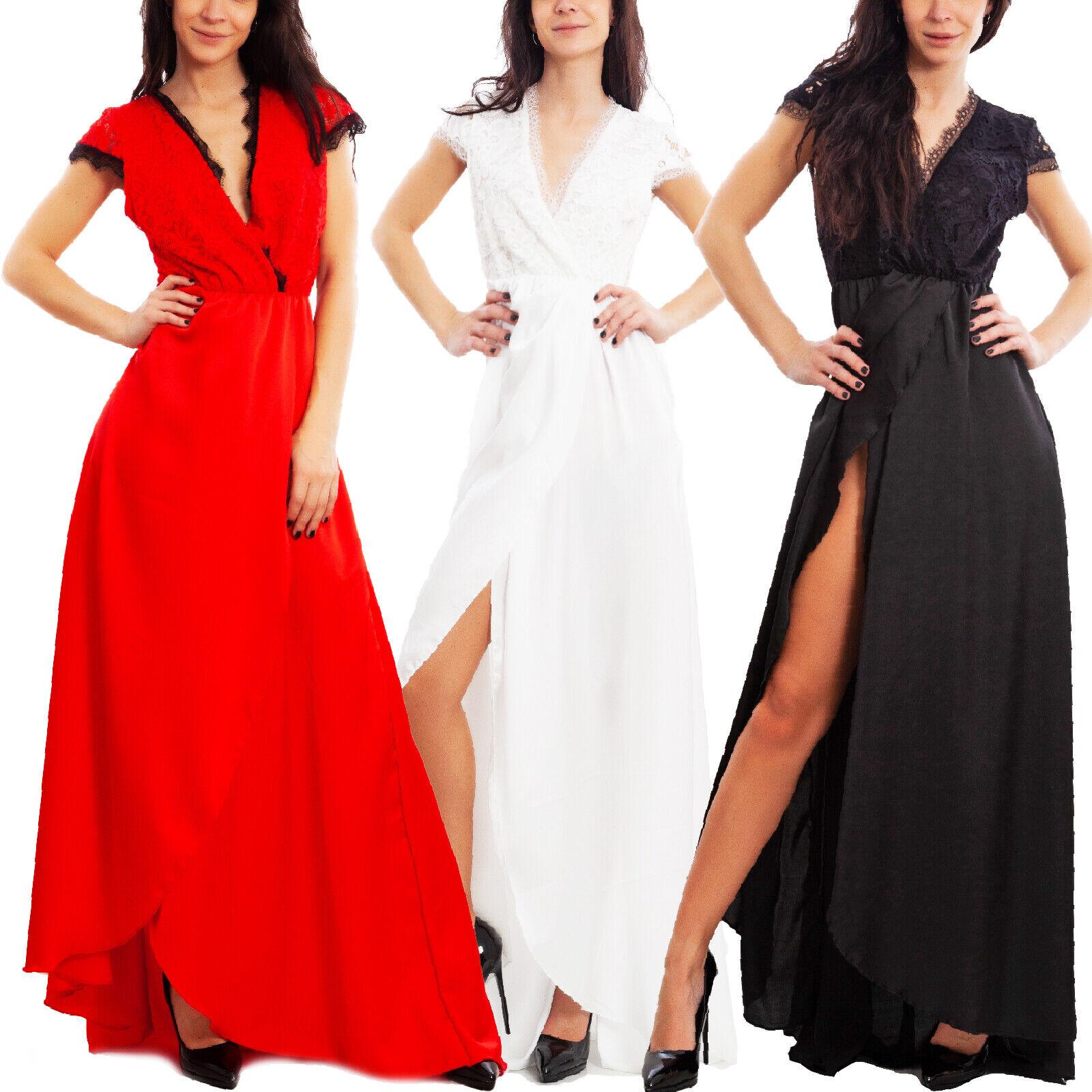 Details zu Kleid Frau Langes Kleid Elegant Festliches Corsage Spitze  Toocool JL-144-14