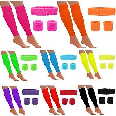 Neon Stirnband Schweissbänder / Handgelenk Bein Wärmer 80s Jahre Zubehör Kostüm