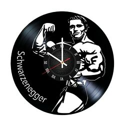 Arnold Schwarzenegger Bodybuilding Powerlifting Workout wall art vinyl clock