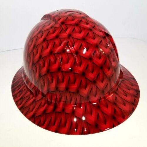 FULL BRIM Hard Hat custom hydro dipped, NEW RED GEO ACID TRIP RATCHET SUSPENSION 2