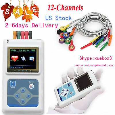 Portable Dynamic Holter 12-channel Ecg Ekg Machine 24hr Monitorsync Pc Software