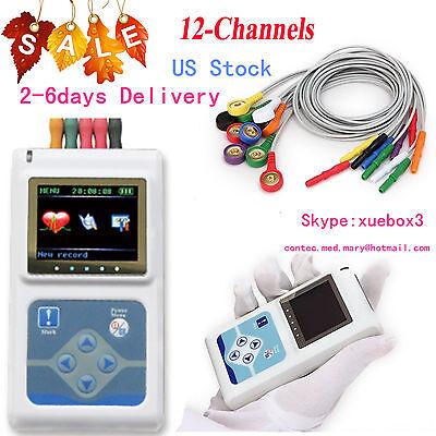 12 Channel Ecg Holter Ecgekg 24h Holter Ekg Monitor Softwaretlc5000usa New