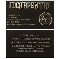 JD CARPENTRY- Master Craftsmanship- New Construction or Reno's
