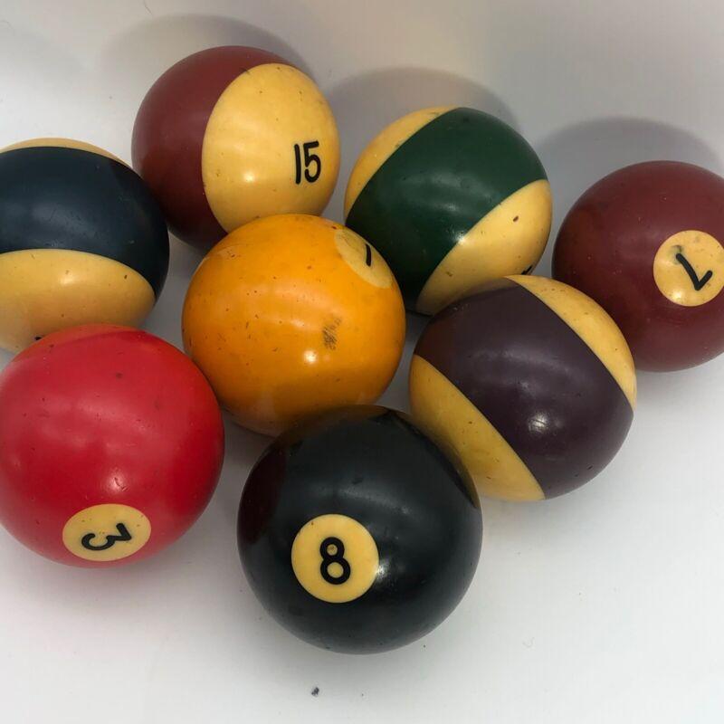 Random Vintage Pool Balls 8 Balls W/ An 8 Ball