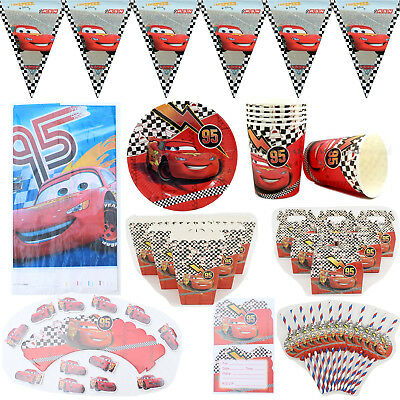 Cars Theme Birthday Party Decoration Tableware Range (Paper Box Straws Flag - Cars Birthday Party Theme