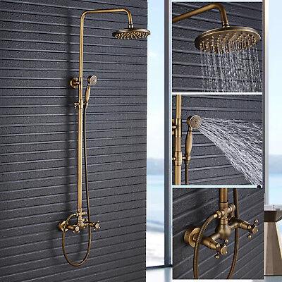 Antique Brass Bath Shower System Faucet Set 8-inch Rain Head Sprayer Mixing - Antique Brass Bath Faucets