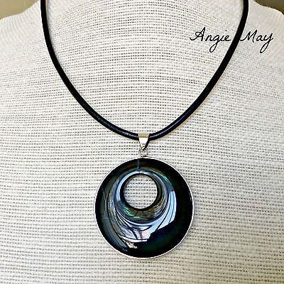 Black Onyx Go-go Donut Pendant on Black Leather Cord Necklace (Black Onyx Pendant Necklace)