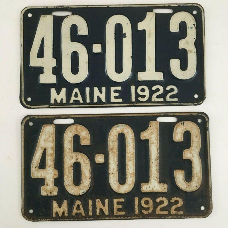 1922 Maine License Plate PAIR Plates All Original Paint