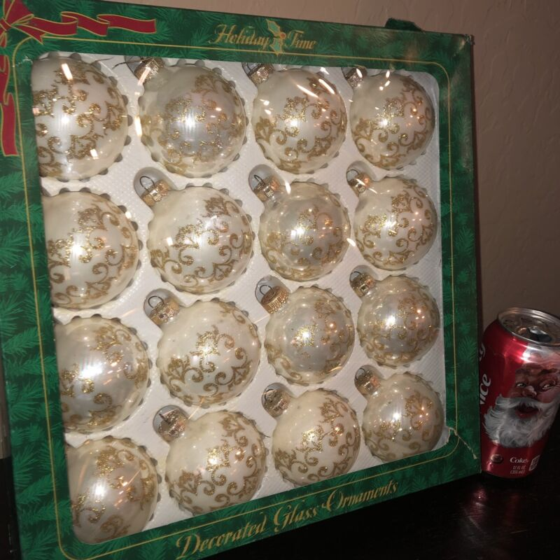"""16 VTG Shiny Pearl Glass Glitter Decorated 2.5"""" Christmas Tree Ornaments Rauch"""