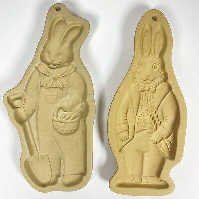 2 Vintage Brown Bag Cookie Art Mold Standing Easter Bunny Rabbit 1988/1992