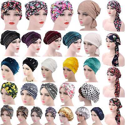 Velvet Turban - Women's Muslim Hair Loss Head Scarf Hat Chemo Hijab Cap Turban Head Wrap Cover