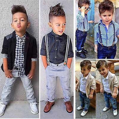 3tlg Jungen Kinder Gentleman Anzug Jacket Mantel Tops T-shirt Hosen Outfits Set - Jungen Anzug Set