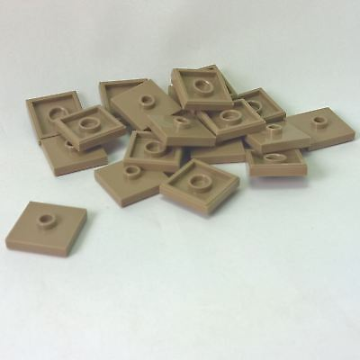 20 NEW LEGO Plate, Modified 2 x 2 and 1 Stud in Center Dark Tan