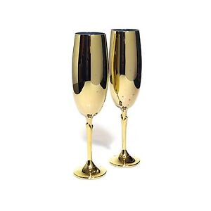 Pair of Hollywood Regency Gold Champagne Flutes Highgate Perth City Area Preview