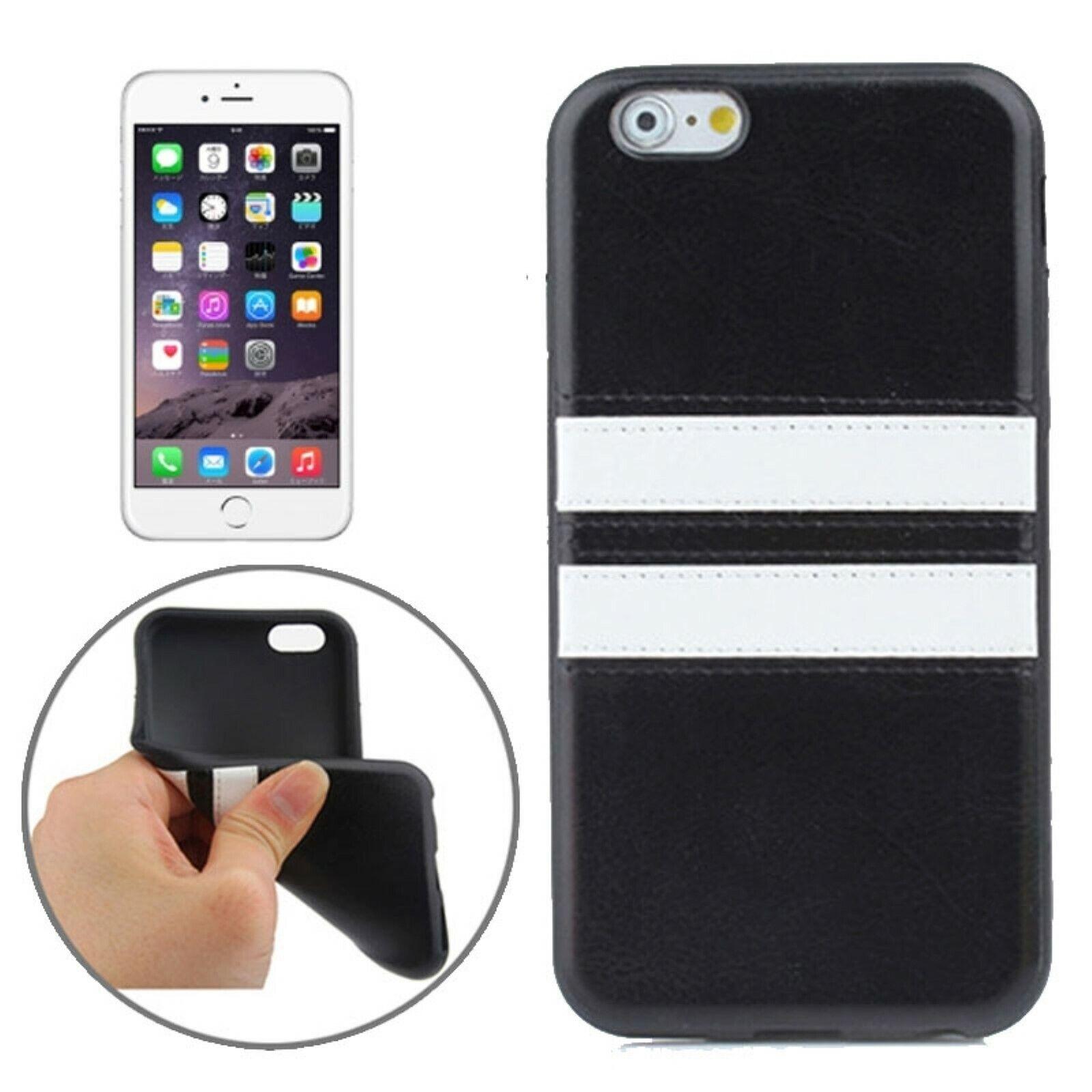 TPU Case Race Rennen Double Stripe Streifen Hülle Schwarz für Apple iPhone 6 6S