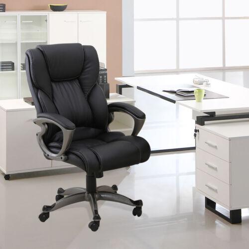 PU Leather High Back Office Chair Executive Task Ergonomic Computer Desk Black