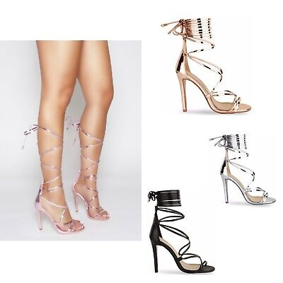 Womens Ladies High Stiletto Heel Strappy Ankle Tie Up Party Sandals Shoes Size Stiletto Heel Ankle Tie