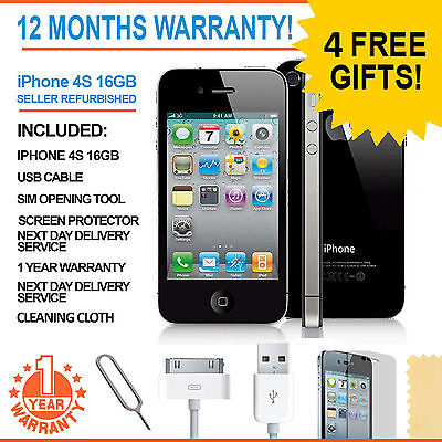 Apple iPhone 4S - 16 GB - Black (Factory Unlocked) Smartphone
