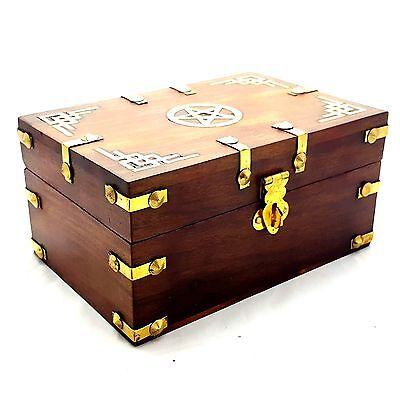 WOODEN BOX WITH BRASS INLAY PENTAGRAM DESIGN