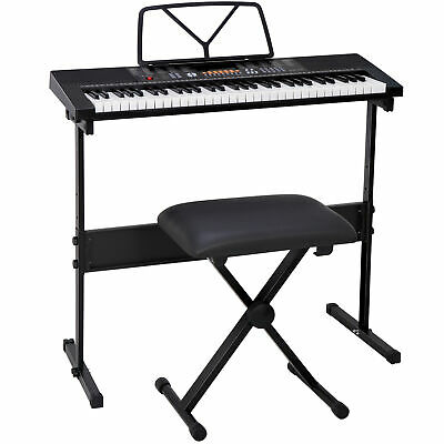 Music Electronic 61 Key Keyboard Digital Piano with Stand Headphones Microphone
