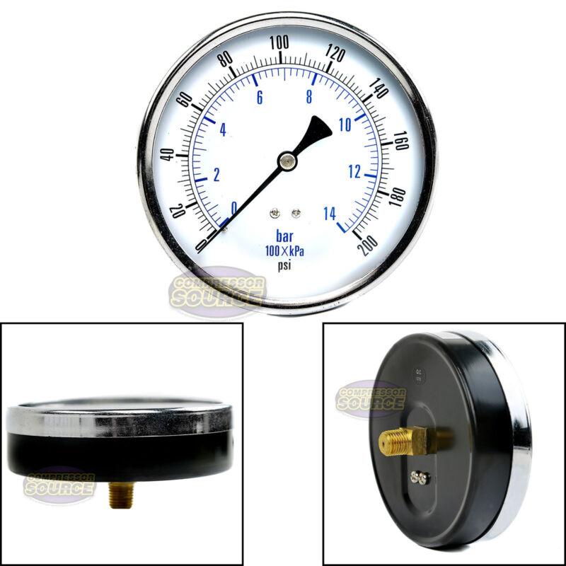 """Quality Compressed Air Pressure Gauge 200 PSI 1/4"""" MNPT Back Mount Mnt 4.5"""" Face"""