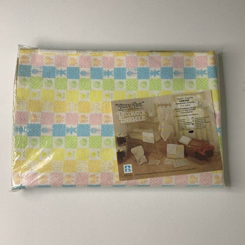 "NEW Vintage Teddy TimeWaterproof Crib Pad 27x36""Pastel Bears Cotton USA Made"
