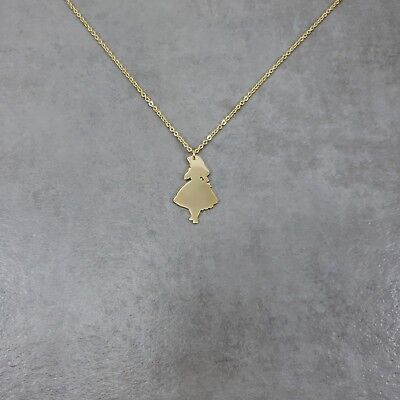 Alice Wonderland Gold Plated Necklace Girl Dress Disney Character Storybook  - Girl Storybook Characters