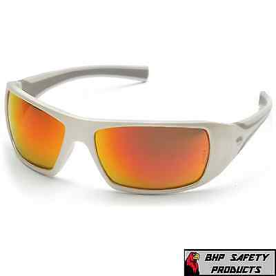 Pyramex Goliath Safety Glasses Sw5655d White Framesky Red Mir Lens Sunglasses