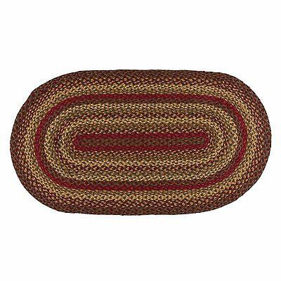 IHF Braided Area Rug Cinnamon in Wine Gold Sage 4'x6' Oval Jute Fabric Primitive