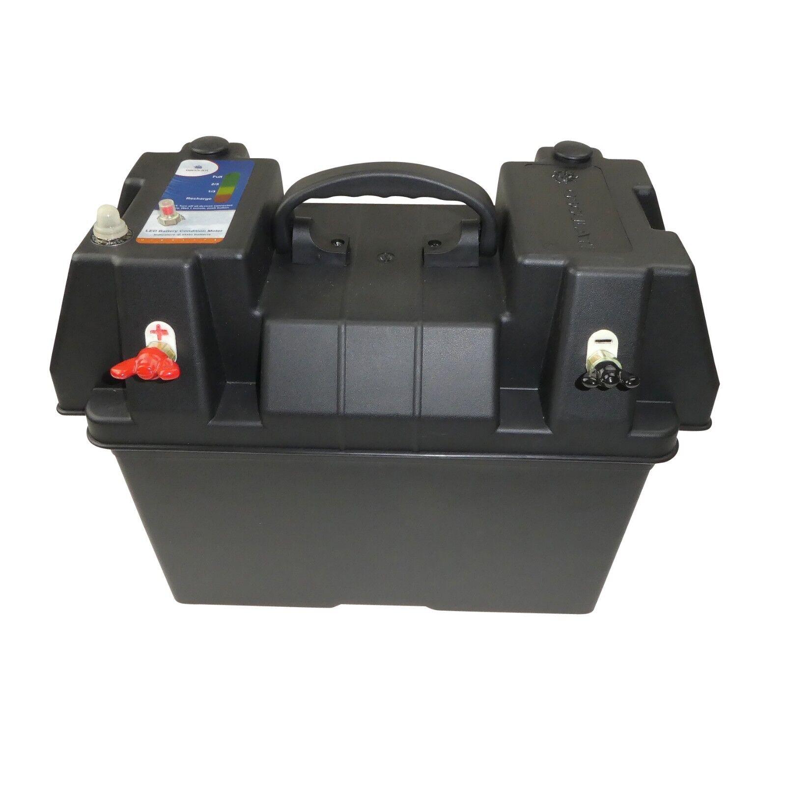 POTENZA CENTRO scatola della batteria 105A IMPERMEABILE CON RACCORDI BARCA