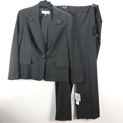 Jones New York Womens Pant Suit Size 16 Gray Striped Lined Career NWT
