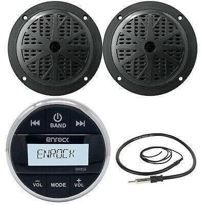 Black Round Bluetooth AUX AM FM Radio, 4