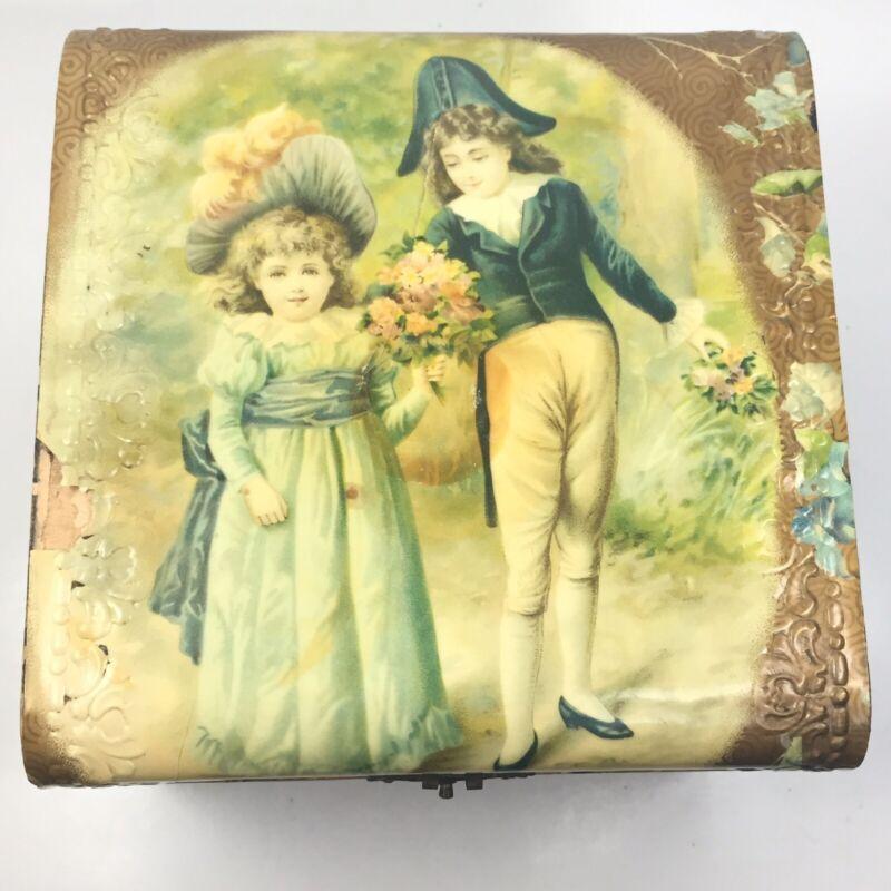 Antique Victorian Collar Dresser Box Courtship Scene