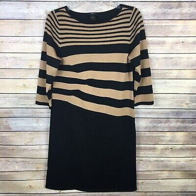 Ann Taylor Women's Sheath Sweater Dress LP Large Petite Brown Black Striped
