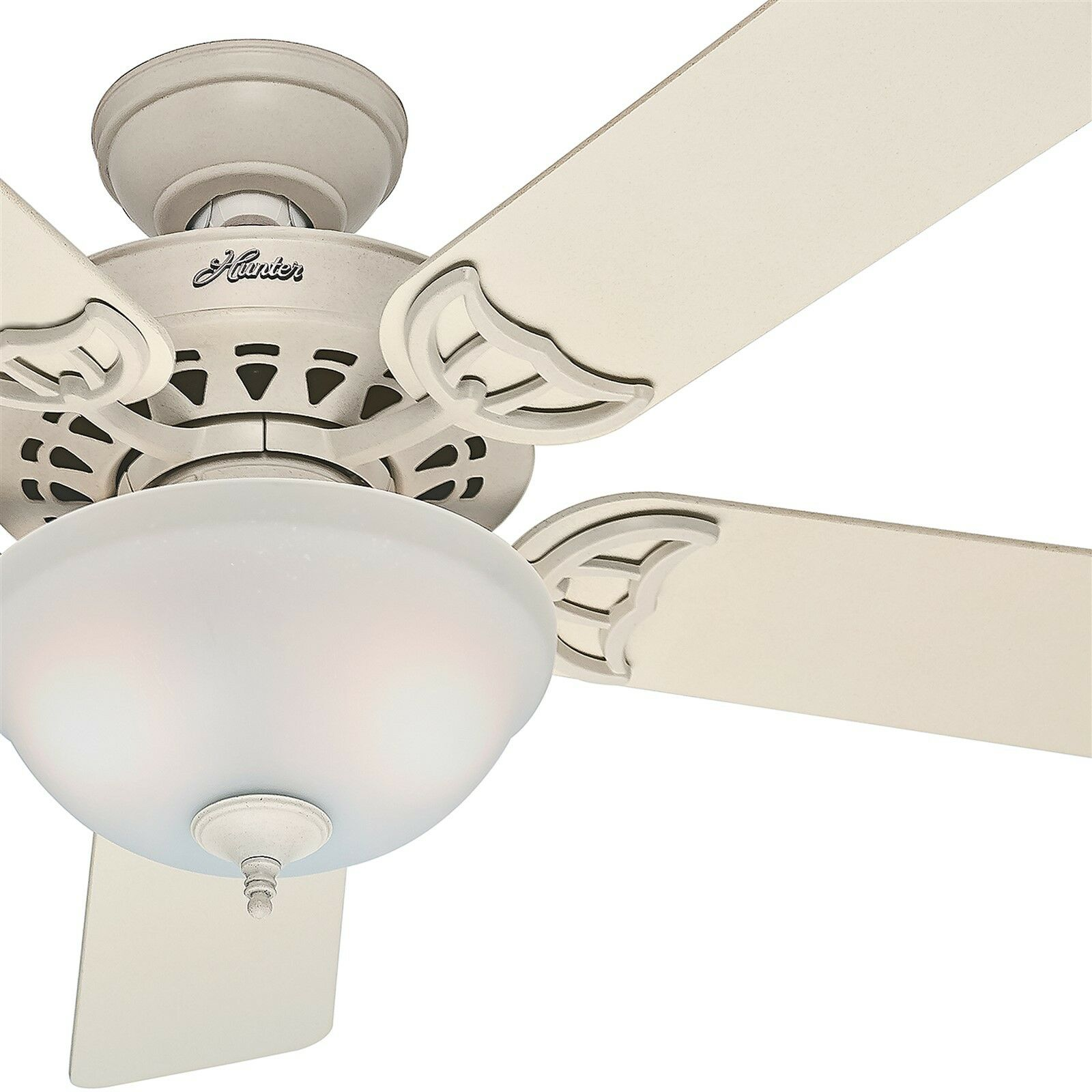Hunter Fan 52 Inch French Vanilla Ceiling Fan W Painted Frosted Glass Light Kit Ebay