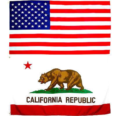 2er Fahnen Set USA - Kalifornien 90x150cm Flagge Bundesstaat Nationalflagge USA