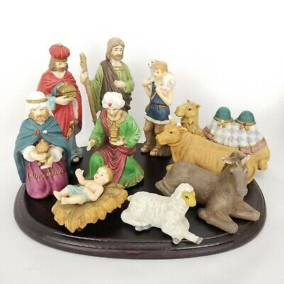 JC Penney Home Collection 10 Pc Hand Painted Porcelain Nativity Set 10.75 x 8.25