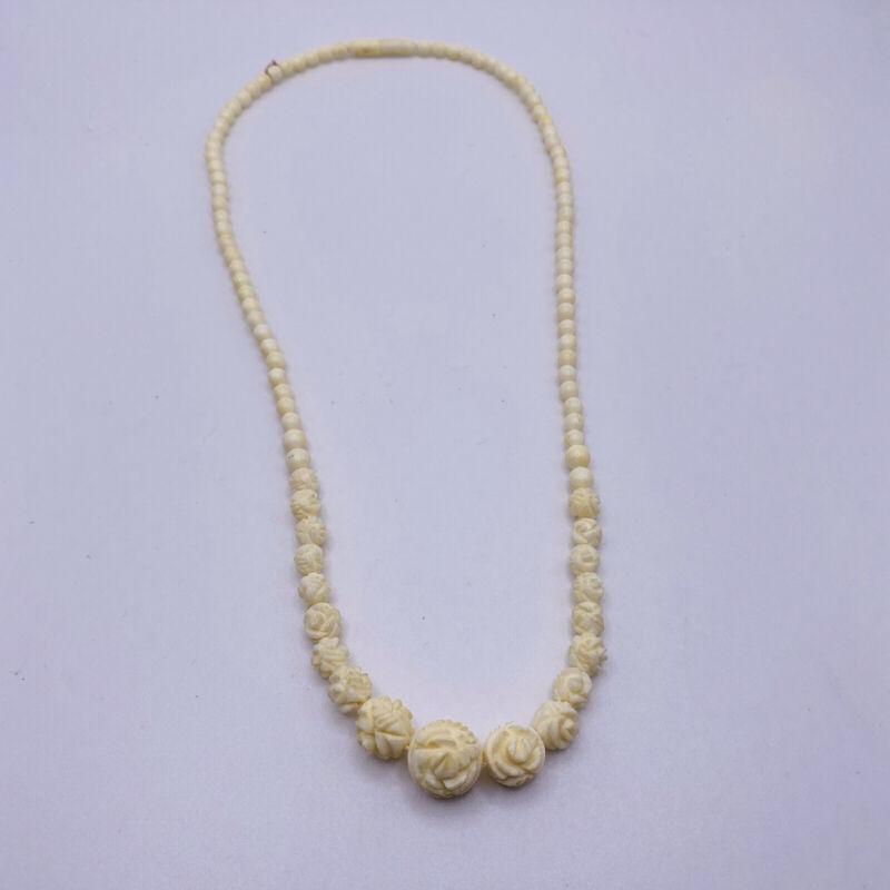 "Vintage 1940s Carved Cream Celluloid Choker Necklace 17"" Art Deco"