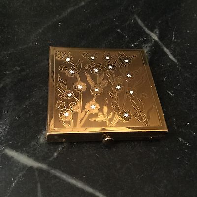 Vintage Wadsworth Compact Mirror Goldtone Etched Flowers Loose Powder Square