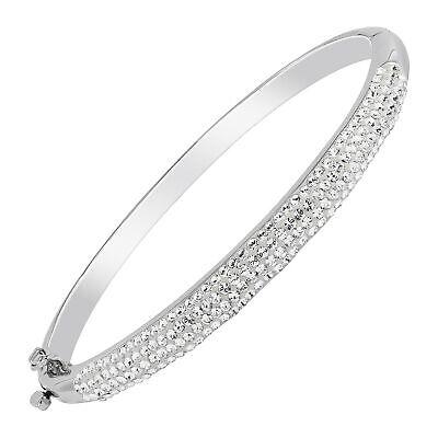 "Bangle Bracelet With Swarovski Crystals in Rhodium-Plated Bronze, 7.5"""